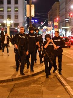 Policías patrullan las calles de Viena, después de ataques terroristas.