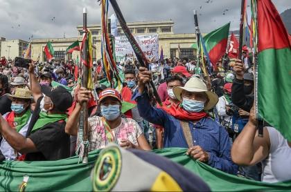 Minga indígena que llegó a Bogotá en octubre, y que anuncia una nueva manifestación con toma de vías