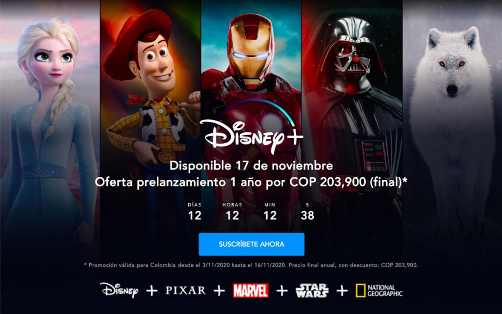 Captura de pantalla: página web Disney Plus