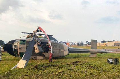 Helicóptero de la Armada Nacional que se accidentó en Guaymaral, norte de Bogotá.