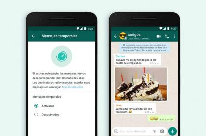 WhatsApp lanzó nuevos mensajes que se autodestruyen.