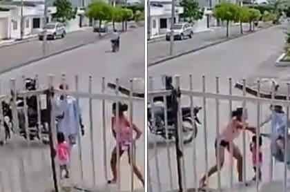Momento del ataque a la mujer en Montería.