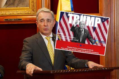 Álvaro Uribe Vélez, que desmintió que esté promoviendo plantón para apoyar a Donald Trump