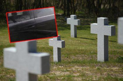 Fotomontaje que ilustra el robo a un carro en un cementario.