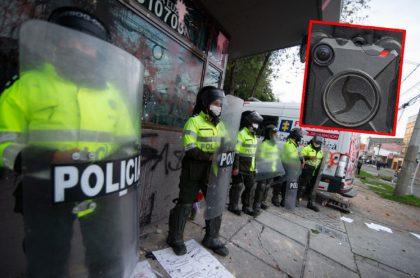 Fotomontaje con imágenes de los policías de Bogotá durante las protestas en la capital y una cámara corporal.