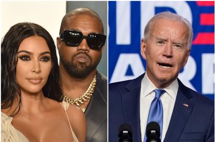 Fotomontaje de Kim Kardashian, Kanye West y Joe Biden, a propósito de que ella celebró victoria del presidente electo