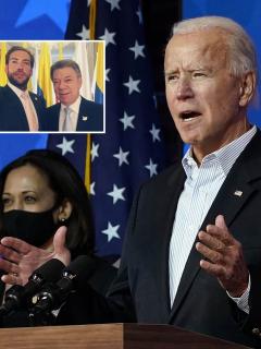 Fotomontaje de Joe Biden, Martín Santos y Juan Manuel Santos, a propósito de quienes chicanearon con fotos junto al presidente electo.