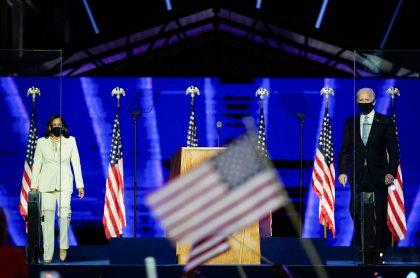 Kamala Harris, vicepresidenta electa de Estados Unidos, y Joe Biden, presidente electo de Estados Unidos, a quienes dirigentes mundiales enviaron su mensaje apoyando su triunfo en las presidenciales 2020.