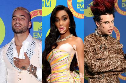 Fotomontaje de Maluma, Winnie Harlow y Yungblud , en los MTV EMA 2020