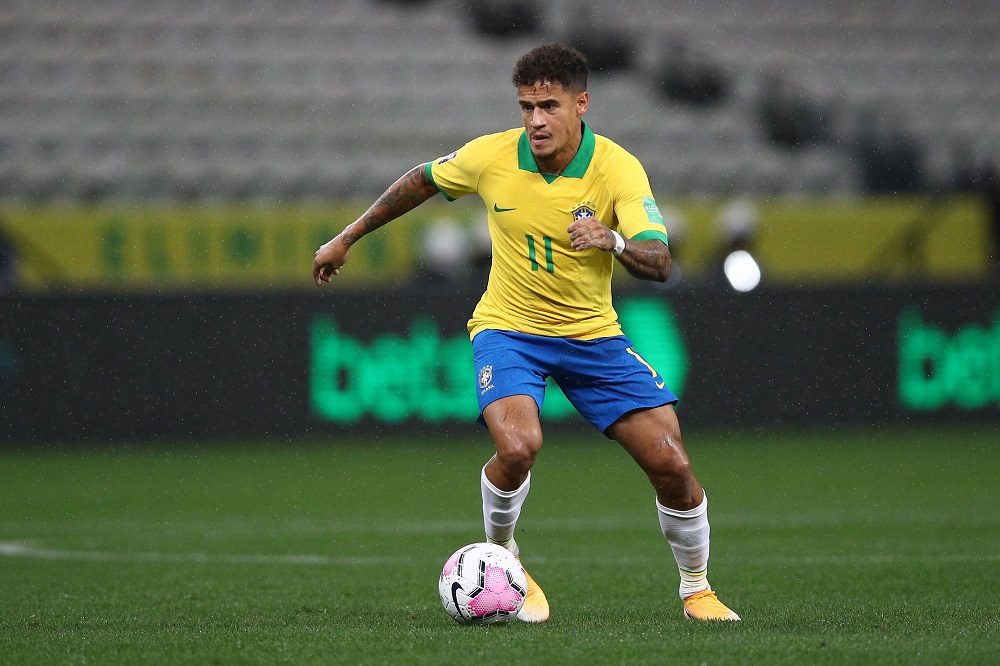 Eliminatorias sudamericanas: imagen de Philippe Coutinho, quien no estará en las fechas 3 y 4.