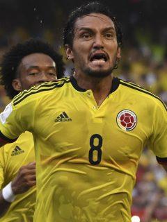 Abel Aguilar celebrando un gol con la Selección Colombia, quien será nuevo comentarista del Gol Caracol