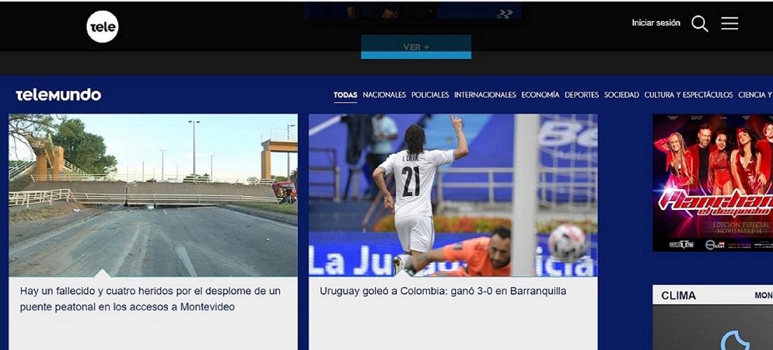 La página de Teledoce, un canal uruguayo de televisión abierta, ni siquiera estaba abriendo con el partido. Lo tenía de segundo en su página principal y con un titular plano que solo mencionaba el resultado / Captura de pantalla de teledoce.com
