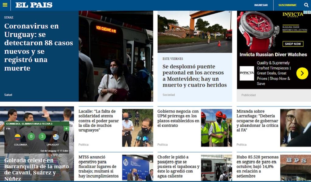 El diario El País, uno de los más importantes del país oriental, dejó la noticia del partido en tercer lugar. Destacó los autores de los goles / Captura de pantalla de elpais.com.uy