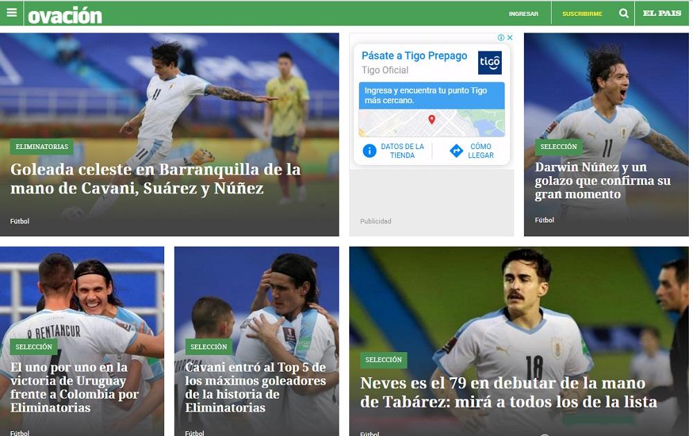 No obstante, Ovación, el suplemento deportivo de El País, sí dio más despliegue, pero sin títulos exorbitantes / Captura de pantalla de ovaciondigital.com.uy