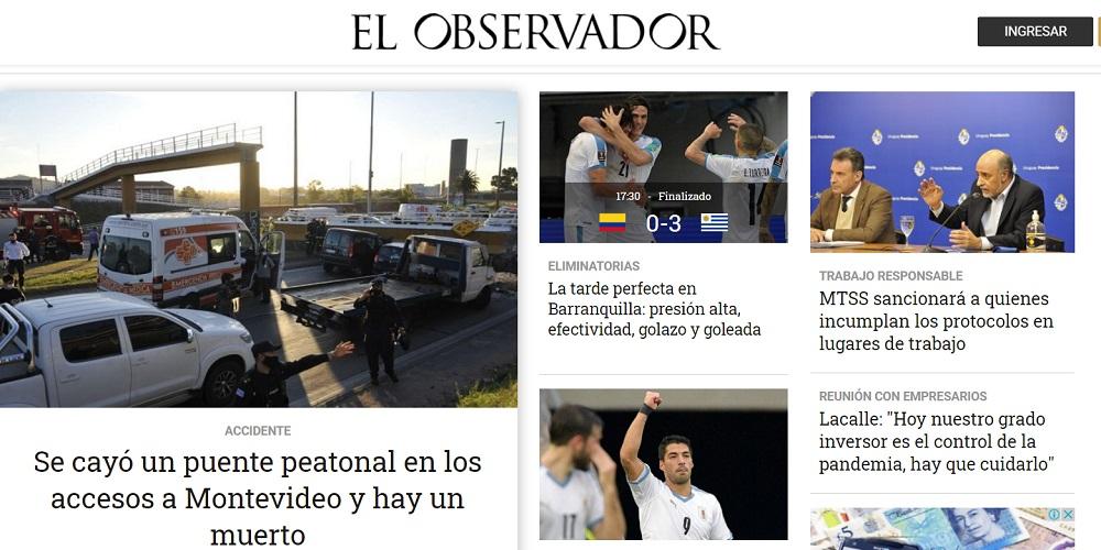 El periódico El obsevador, también muy reputado en Uruguay, dejó el partido en segundo plano. El título fue más llamativo, pero sin excesos / Captura de pantalla de elobservador.com.uy