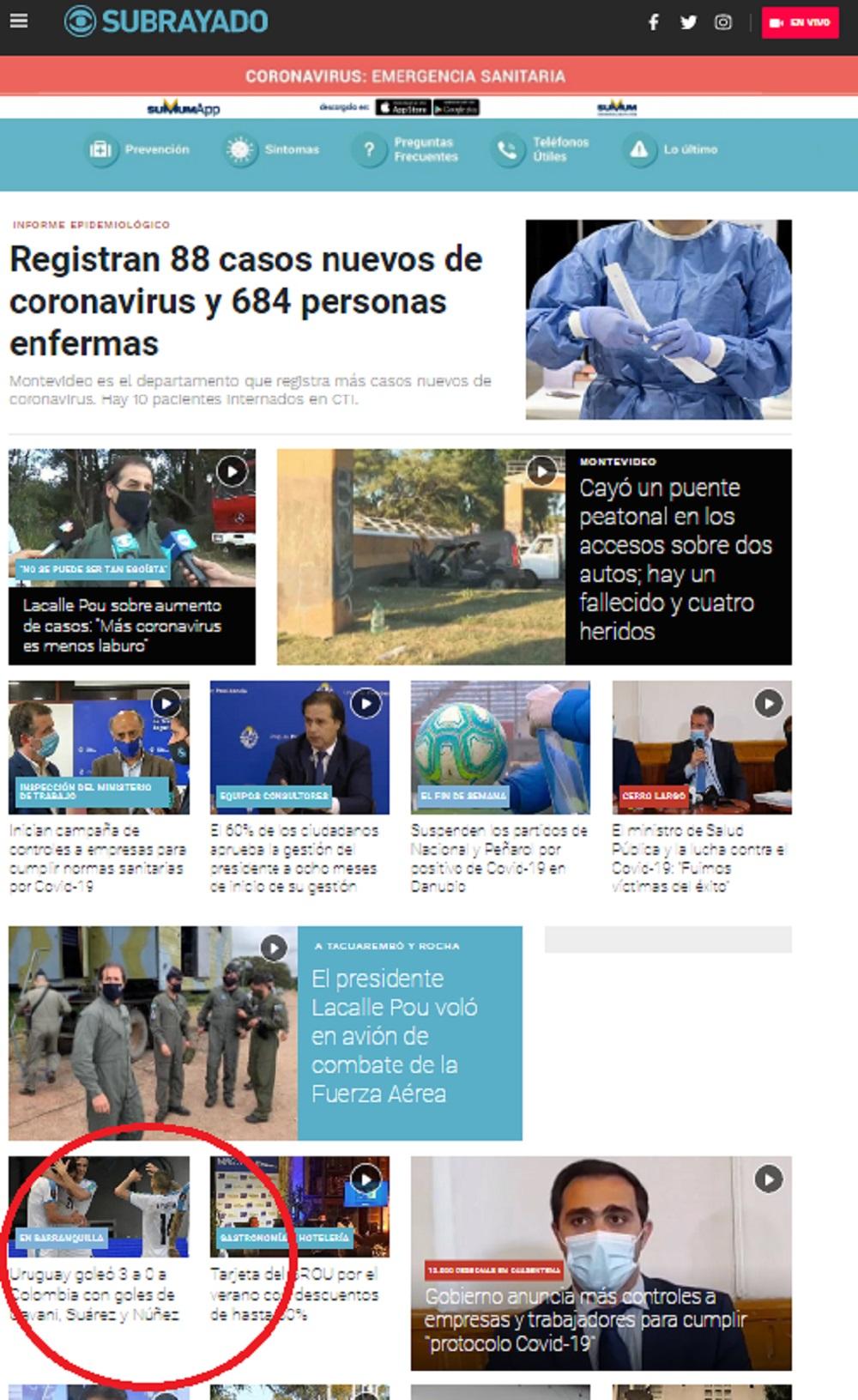 El medio televisivo Subrayado ni siquiera le dio mucha trascendencia al juego. Casi que ni apareció en la página principal / Captura de pantalla de subrayado.com.uy