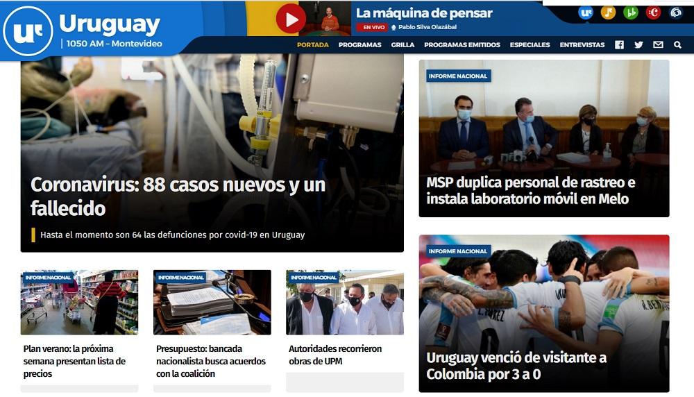 En el dial tampoco hubo mucha euforia Radio Uruguay, en su página principal casi saca el partido de foco. Una sola nota, y muy escueta / Captura de pantalla de radiouruguay.uy