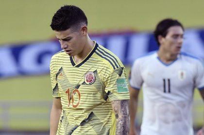 James Rodríguez afectado por la goleada que sufrió Colombia contra Uruguay en Eliminatorias