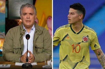 James Rodríguez e Iván Duque, quien paró su programa para hablar de la goleada que sufrió la Selección Colombia contra Uruguay