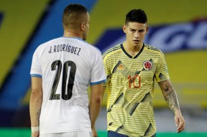 James Rodríguez en la goleada que sufrió Colombia contra Uruguay, la peor de Colombia en toda la historia como local