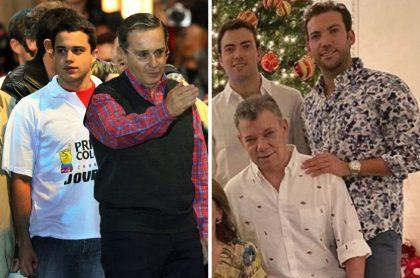 Álvaro Uribe y Juan Manuel Santos con sus hijos, a qué se dedican los hijos de los políticos colombianos