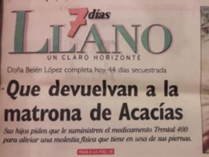 Apoyo de los ciudadanos a la matrona de Acacías, Doña Belén López, quien durante su estadía en el pueblo se había ganado el aprecio de quienes habitaban en el.