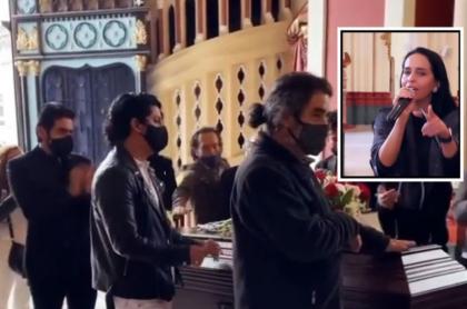 Despedida al actor Alfonso Ortiz, en donde cantó su colega Diana Ángel.