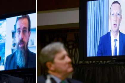El senador John Kennedy escucha a Jack Dorsey, director ejecutivo de Twitter, y a Mark Zuckerberg, director ejecutivo de Facebook, durante la audiencia del Comité Judicial del Senado sobre 'Noticias: censura, represión y las elecciones de 2020', en el congreso de EE.UU., el 17 de noviembre. 2020 en Washington.