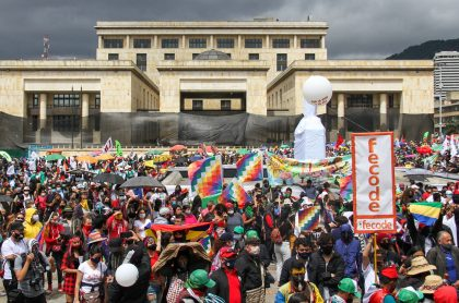 Imagen de una de las manifestaciones en Bogotá, a propósito de la jornada que se espera el 21 de noviembre.