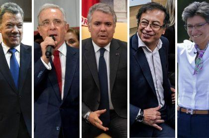 Juan Manuel Santos, Álvaro Uribe, Iván Duque, Gustavo Petro y Claudia López, políticos que han quedado en evidencia tras decir mentiras