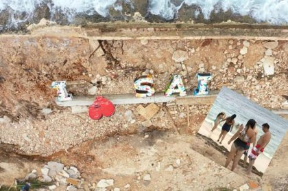 Imagen de San Andrés destruida por huracán Iota y algunos turistas que llegaron después de la tragedia