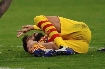 Lesión de Gerard Piqué en el partido contra Atlético de Madrid en LaLiga.