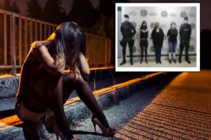 Imagen de las tres mujeres capturadas por acusaciones de que harían parte de la banda 'Las faraonas', y de que estarían extorsionando a hombres en motel de Bogotá