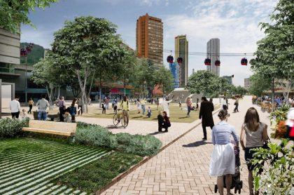 Imagen de lo que sería el Corredor verde en Bogotá.