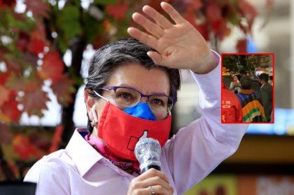 La alcaldesa Claudia López, en la foto, durante rueda de prenda, respondió a los insultos que recibió en el centro de Bogotá.