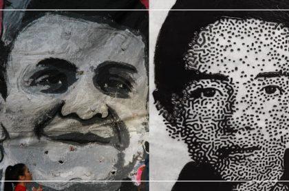 Mural con el rostro de Dilan Cruz y Cartel con el rostro de Nicolás Neira
