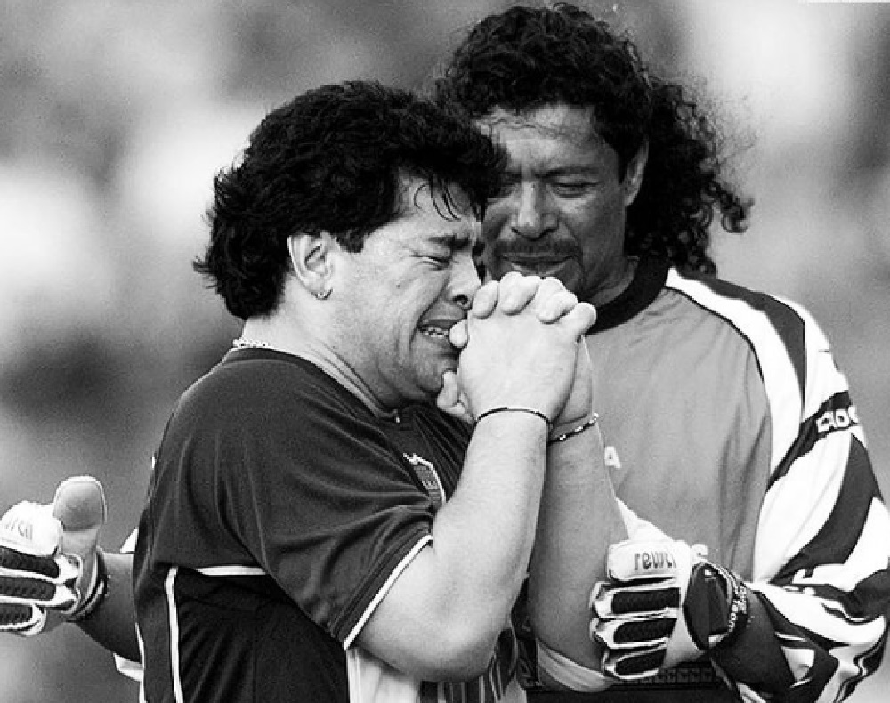 René Higuita publicó una foto del partido de despedida de Maradona / Tomada de la cuenta de Instagram de René Higuita.