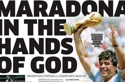 Titulares del diario Metro sobre muerte de Maradona