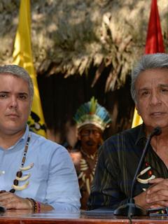 Foto de Iván Duque y Lenin Moreno en Leticia, Colombia, en el 2019.