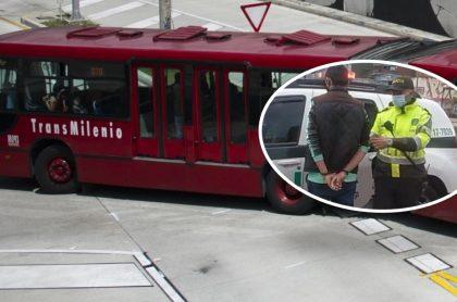 Bus de Transmilenio y acusado de tocar a una mujer con sus genitales, en un bus del sistema de transporte de Bogotá. (Fotomontaje de Pulzo)