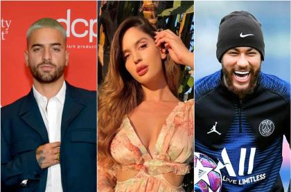 Foto de Maluma, Natalia Barulich y Neymar, a propósito de que ella estaría saliendo con empresario colombiano.