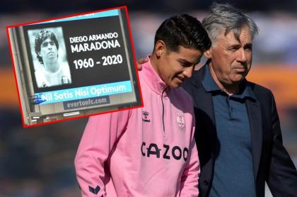 James Rodríguez y Carlo Ancelotti, quien por poco llora en homenaje a Diego Maradona
