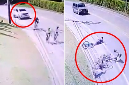 Camioneta Nissan atropella a 3 ciclistas en La Ceja, Antioquia. Fotomontaje: Pulzo.