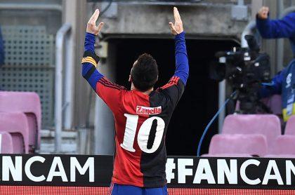 Lionel Messi homenajeando a Diego Maradano en el triunfo del Barcelona ante Osasuna.