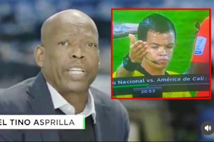 Tino Asprilla, quien insultó fuertemente al árbitro del partido Nacional-América