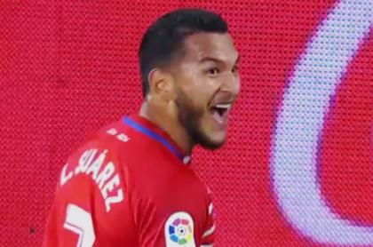 Gol del colombiano Luis Suárez con el Granada al Celta en España.