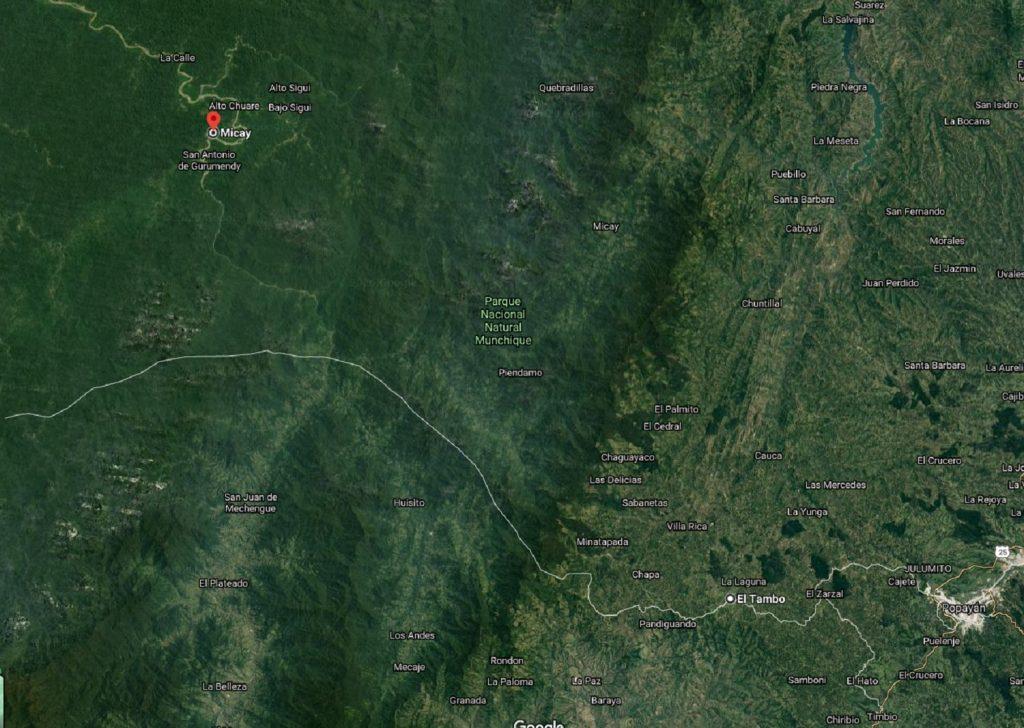 Selva del Cauca, vía Google Maps.