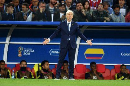 José Néstor Pékerman en un partido del Mundial de Rusia, a propósito de que su nombre suena para reemplazar a Queiroz en la Selección Colombia.