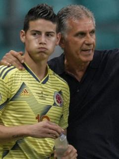 Carlos Queiroz y James Rodríguez, quien se habría molestado con el extécnico de la Selección Colombia desde el año pasado.