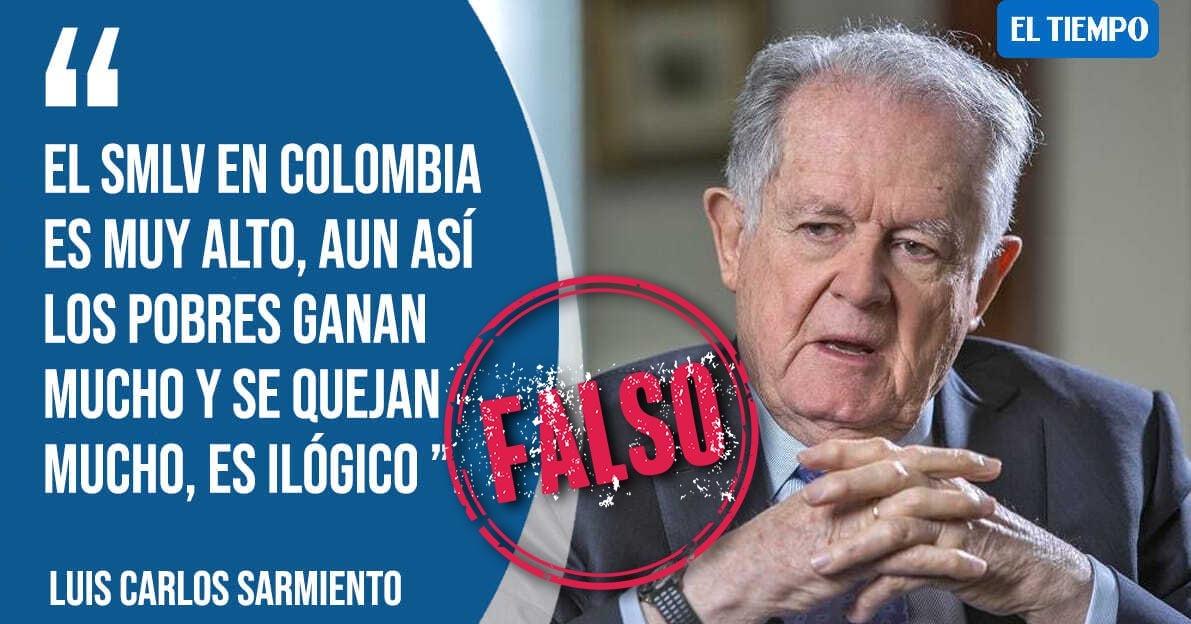 Falsa imagen donde atribuyen a Luis Carlos Sarmiento Ángulo frase sobre salario mínimo /Colombia Check